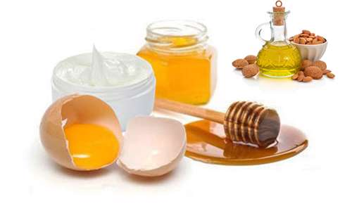تخم مرغ و عسل و روغن بادام