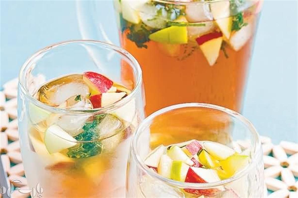 یخ چای نعنا و آب سیب