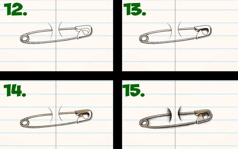آموزش نقاشی سنجاق قفلی سه بعدی