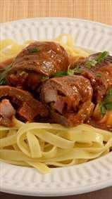 استیک گوشت همرا با پاستا