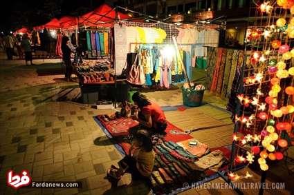 بازار زیبای شبانه در لائوس