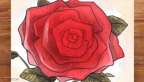 روشی راحت برای کشیدن گل رز روی کاغذ