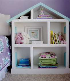 قفسهی اتاق کودک به شکل خانه عروسکی
