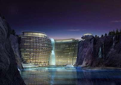 زیبایی خیره کننده هتل چینی درون یک معدن سنگ!