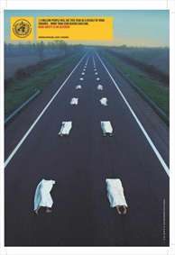پوستر سازمان جهانی بهداشت در مورد تلفات جاده ای