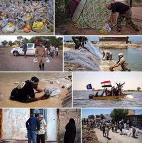 کمکرسانی نُجَباء عراق به سیلزدگان اهواز و حمیدیه